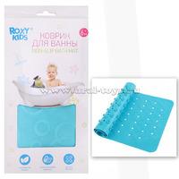 Антискользящий резиновый коврик для ванны ROXY-KIDS (35x76см). Цвет аквамарин.