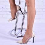 Женские комбинированные туфли на каблуке