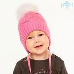 Вязаная шапка с завязками и натуральным помпоном, розовый р-р 42-54