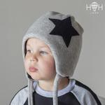 Зимняя шапка без помпона, большая звезда, серый р-р 46-58