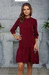 Платье с воланом цвет винный