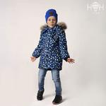 Куртка зимняя, синий принт, натуральный енот р-р 92-128