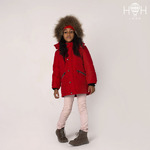 Куртка зимняя, красная, натуральный енот р- 92-128