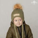 Зимняя вязаная шапка BOY с искусственным помпоном, хаки р-р 46-54