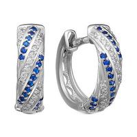 Серебряные серьги с фианитами синего цвета- 1014