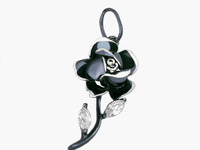 Роза Подвес из серебра 925 пробы с нанокерамическим покрытием