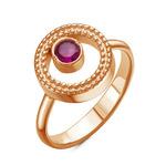 Золотое кольцо с фианитом цвета рубин - 1013