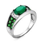 Кольцо из серебра с кварцем зеленый агат и фианитами родированное