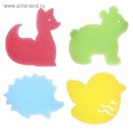 Детская губка-мочалка «Зверята» для купания, игровой набор 4 шт.