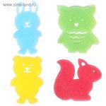 Детская губка-мочалка «Лесные друзья» для купания, игровой набор 4 шт.