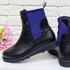 Яркие кожаные челси черного цвета со вставками  Б-1825-01