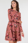 Распродажа Платье с длинными рукавами и юбкой полусолнце