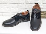 Классические мужские Туфли на шнуровке из натуральной гладкой кожи черного цвета со вставками из натуральной замши, Т-08