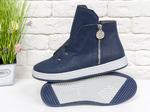 Стильные спортивные женские ботинки-кеды из натуральной матовой кожи  Б-1822