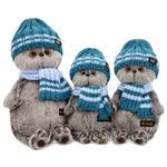 Басик в голубой вязаной шапке и шарфе