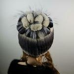 """Меховая шапка """" Ананас """" мех кролик, цвет бежевый с полосой. Подробнее: https://xn-----7kcgobxpmiohaje2czb8cyc.xn--p1ai/p307892990-mehovaya-shapka-ananas.html"""