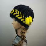 """Меховая шапка """" Колпачок """" мех норка, цвет черный с желтым Подробнее: https://xn-----7kcgobxpmiohaje2czb8cyc.xn--p1ai/p306137948-mehovaya-shapka-kolpachok.html"""