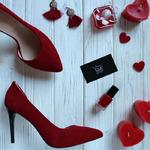 Туфли из натуральной замши красного цвета Арт. 35-5