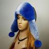 "Меховая шапка ""Ушанка"" мех кролик рекс, цвет синий Подробнее: https://xn-----7kcgobxpmiohaje2czb8cyc.xn--p1ai/p302847923-mehovaya-shapka-ushanka.html"