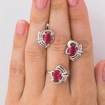 Серебряное кольцо с фианитом цвета рубин 781