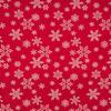 Ткань бельевая п/лен  Кружевные снежинки на красном, ширина 150см