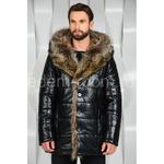 Зимняя куртка из эко-кожи с мехом