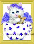 Алмазная вышивка «котенок в чашке с арфой и крыльями»