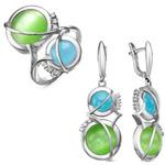 """Гарнитур из серебра с камнями """"кошачий глаз"""" голубого и зеленого цвета - 608"""