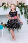 Платье нарядное для девочки арт. ИР-1808, цвет темно-коричневый/цветы