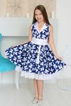 """Платье нарядное для девочки """"Стиляги"""", цвет электрик/белые бабочки"""
