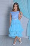 Платье нарядное со съемной юбкой арт. ИР-1705, цвет голубой