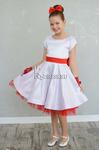 Платье нарядное для девочки арт. ИР-1803, цвет белый в горошек/красный