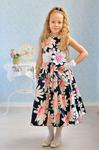 """Платье нарядное для девочки """"Ромашки"""", цвет темно-синий/ромашки с розовым"""