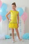 Платье нарядное для девочки арт. ИР-1709-бахрома, цвет желтый