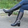 Женские кожаные сапоги с декором (байка/экомех/экомех-евро/цигейка-евро/цигейка - на выбор)
