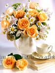 Алмазная вышивка «чайные розы и ромашки в одном букете»