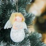 Мягкая девочка белый ангелок 9 см елочка
