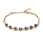 Позолоченный браслет с синими фианитами 654 - п