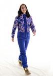 Зимний женский комбинезон. основной цвет- синий,принт- paintbrush violet