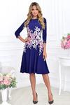 Платье лодочка синий купон с розовыми цветами