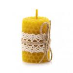 Свеча из пчелиного воска (вощины) с кружевом малая