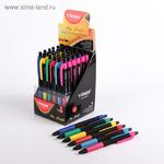 Ручка шариковая автоматическая Grada, чернила синие на маслянной основе, пулевидный пишущий узел 0.7мм, резиновый упор, микс 36 ШТУК