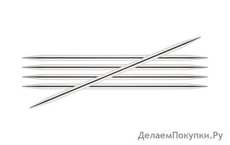 """10103 """"Knit Pro"""" Спицы чулочные Nova Metal 2,5мм/15см, никелированная латунь, серебристый, 5шт"""