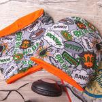 Набор: шапка со снудом из двойного трикотажа Комиксы, оранжевый