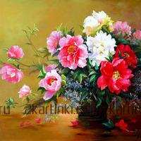 Алмазная вышивка «букет роз в плетеной вазе»