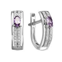 Серебряные серьги с фианитами фиолетового цвета 429