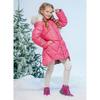 Пальто зимнее для девочки Джинс 2255 красное FOX-CUB (Россия)