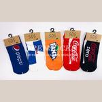 Мультимедийные носочки укороченные с пяткой хорошего качества ХИТ СЕЗОНА с марками газированных напитков.Упаковка 10 пар