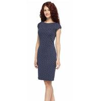 1041 Платье Горох на темно-синем