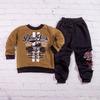 Кофта для мальчика с длинным рукавом и штаны, футер, New York, горчичный с черным